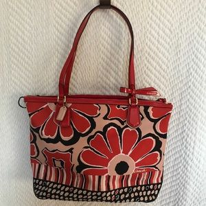COACH Red Daisy Glam Tote
